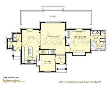 New south classics cottage on avon for Large great room house plans