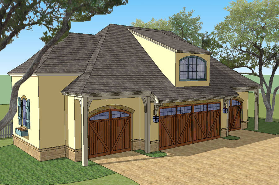 New south classics carriage house 4 car for Homes with 4 car garages