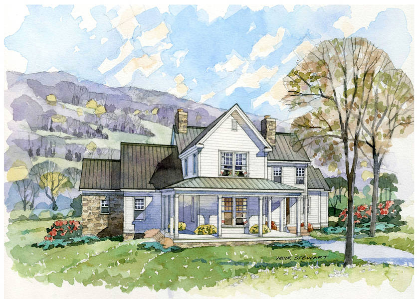 New south classics the homesteader for Custom farmhouse plans