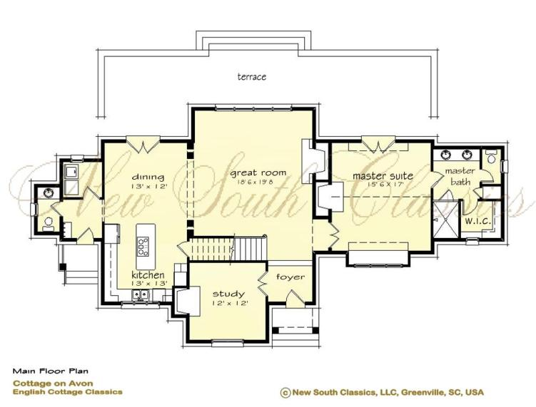 New south classics cottage on avon for Great room floor plans single story